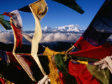 Buddhist Prayer Flags Framing Kangchenjunga Peak (8586M), Singali Ridge Photographic Print by Garry Weare