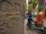 Girl Makes an Offering at Bayon Temple Photographic Print by Felix Hug
