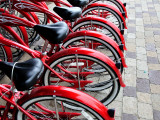 Red Bicycles for Hire Fotografiskt tryck av David Ryan