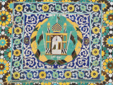 Detail of Tile Work in Courtyard of Friday Mosque or Masjet-Ejam Photographic Print by Jane Sweeney
