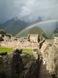 Rainbow over Incan Ruins of Machu Picchu Photographic Print by Emily Riddell