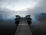 Chairs on Jetty on Mist Shrouded Lake Photographie par Denis Corriveau