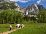 People Looking at Yosemite Falls from Wooden Walkway Photographic Print by Emily Riddell