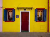Colorful Windows and Door on Yellow House Photographic Print by Dennis Walton