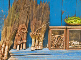 Brushes, Green Chillies, and Dried Fish at Shop Near Ghoom Photographic Print by Tim Makins