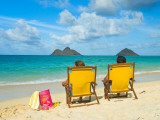 Couple Relaxing on Beach at Lanikai on Windward Side of Oahu Photographic Print by Ann Cecil
