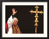 Pope Benedict XVI Waves to the Crowd Framed Photographic Print