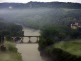 Misty Morning over Dordogne Valley with Chateau of Fayrac on the Right Photographic Print by Barbara Van Zanten