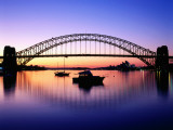 Harbour Bridge at Dawn, Seen from Blue Point, Boats in Foreground are Moored at Lavender Bay Photographic Print by Ross Barnett