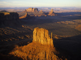 Aerial Overlook of West Mitten Butte in Monument Valley at Sunset Photographic Print by Manfred Gottschalk