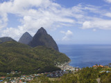 Rooftops of Soufriere and the Pitons Photographic Print by Brent Winebrenner