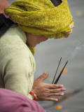 Pilgrim from Nepal Praying to River Ganga Photographic Print by April Maciborka