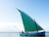 Dhow Sailing Off Coast of Vilanculos Photographic Print by Oliver Strewe
