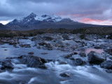 Sligachan River Flowing Down from Glen Below the Black Cuillin Range in Winter Photographic Print by Feargus Cooney