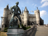 Statue of Lange Wapper in Front of Het Steen-The 13th Century Castle. Photographic Print by Bruce Bi