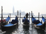 Gondolas and Gondolier with Church of San Giorgio Maggiore Photographic Print by Ruth Eastham & Max Paoli