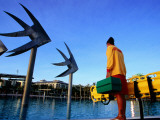 Lifeguard on Duty at Cairns Esplanade Outdoor Pool Photographic Print by Paul Dymond