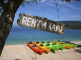 Kayaks for Rent on Beach at Point Kovacine West of Cres Town Photographic Print by Ruth Eastham & Max Paoli
