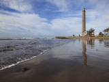 Maspalomas Beach with Maspalomas Lighthouse (Faro De Maspalomas) Reflected in Wet Sand Photographic Print by Ruth Eastham & Max Paoli