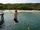 Jumping of Wharf at Chowder Bay Photographic Print by Oliver Strewe