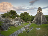 Grand Plaza with Temple of Great Jaguar (Temple I) at Right, in Mayan Ruins of Tikal Photographic Print by Sean Caffrey