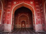 Interior of Red Sandstone Mosque in Grounds of Taj Mahal Photographic Print by Kimberley Coole
