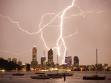 Lightning Storm over Perth Skyline from Matilda Bay Photographic Print by Orien Harvey