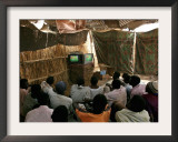 Sudanese Refugees Watch a World Cup Soccer Mach at the Zamzam Refugee Camp Framed Photographic Print