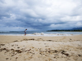 Man Walking on Beach after Storm Reproduction photographique par Sabrina Dalbesio