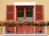 Pots of Geranium Flowers on Window Balcony Photographic Print by Oliver Strewe