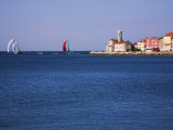 Sailing Boats Racing across Piran Bay Away from Rt Madona Headland Photographic Print by Ruth Eastham & Max Paoli