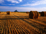 Mont St Michel across Field of Stubble Photographic Print by David Tomlinson