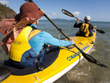 Women in Double Sea Kayak in Banksia Bay Photographic Print by Andrew Peacock