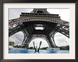 Scuba Diving under the Eiffel Tower, Paris, France Framed Photographic Print by Michael Sawyer