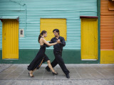 Pair of Tango Dancers Performing on Streets of La Boca Fotoprint van Brent Winebrenner