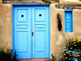 Blue Door on Adobe Building Photographic Print by Ray Laskowitz