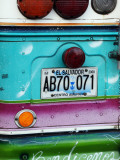 Detail of Numberplate at Back of 'Chicken Bus', Most Common Transport in El Salvador Fotografisk tryk af Paul Kennedy