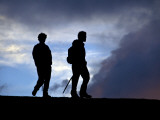 Two Men Hiking to Pacaya Volcano Photographic Print by Mark Newman