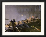 Two New York Firefighters View the Smoldering Rubble Framed Photographic Print