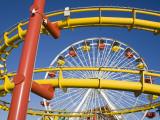 Ferris-Wheel and Roller Coaster, Pacific Park on Santa Monica Pier Photographic Print by Richard Cummins