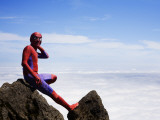 Man in Spiderman Costume on Mount Eniwa Photographic Print by Shayne Hill