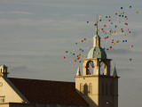 Balloons Flying over Church Photographic Print by Seong Joon Cho