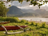 Outrigger Canoes at Hanalei Beach Park Photographic Print by Linda Ching