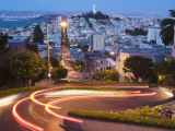 Vehicles Leave Colourful Light Trails at Dusk on Lombard Street Photographie par Orien Harvey