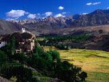 Village, Barley Fields and Ladakh Ranges, Ladakh Photographic Print by Richard l&#39;Anson