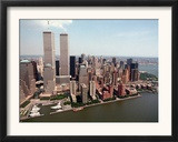The Twin Towers of the World Trade Center Rise Above the New York Skyline Framed Photographic Print