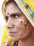 Rajasthani Woman with Nose Ring Photographic Print by April Maciborka
