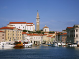 Boats in Piran Marina with Tartinijev Square Photographic Print by Ruth Eastham & Max Paoli