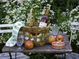 Still-Life with Wine, Cheese and Apples, in the Garden of a House in St. Denis Le Ferment Photographic Print by Barbara Van Zanten