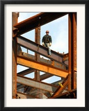 A Construction Worker Stands on a Steel Beam While Working on a High Rise Building Framed Photographic Print